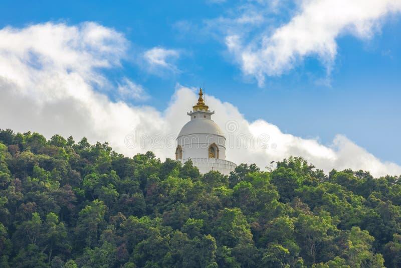 世界和平从Phewa湖博克拉尼泊尔2的Stupa视图 库存图片