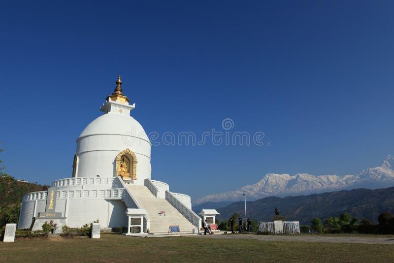 世界和平塔在博克拉尼泊尔 库存照片