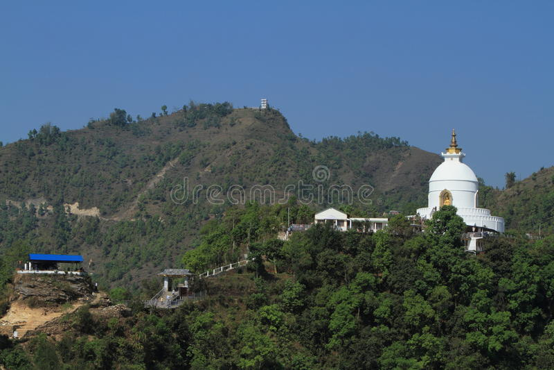 世界和平塔在博克拉尼泊尔 免版税库存照片