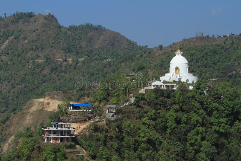世界和平塔在博克拉尼泊尔 图库摄影