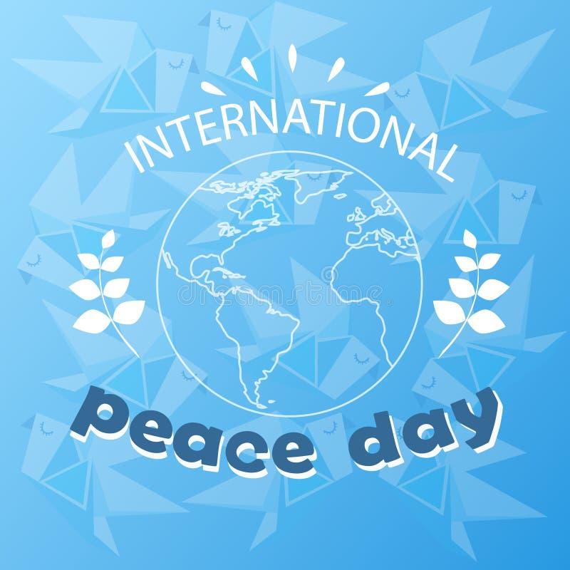 世界和平天全球假日海报剪影 库存例证