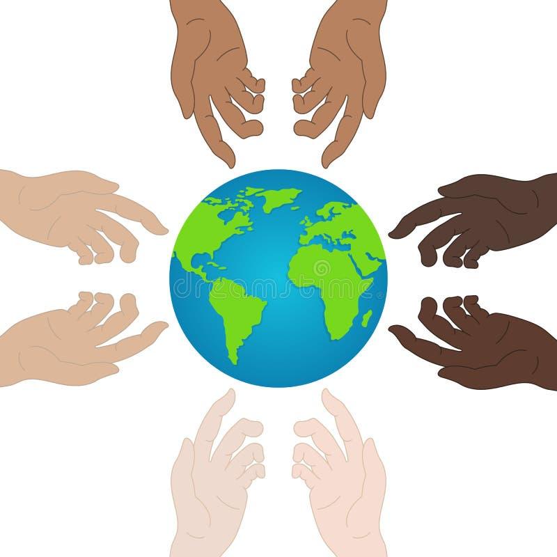 世界和平天 r 握显示团结的手 关系象 您的设计的传染媒介例证,网站 库存例证