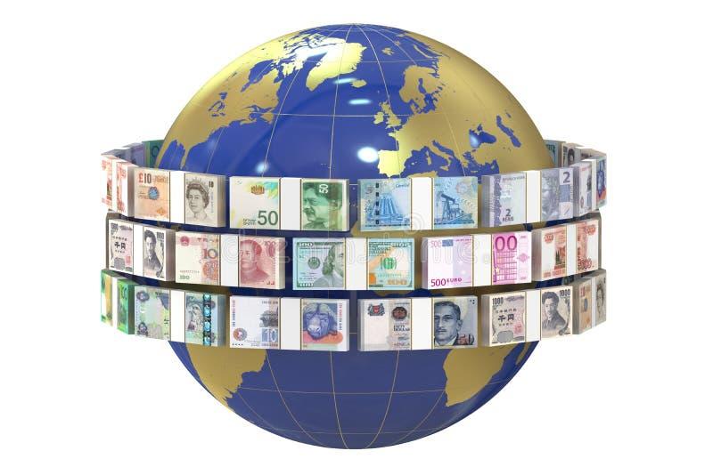 世界和金钱,汇寄概念 皇族释放例证