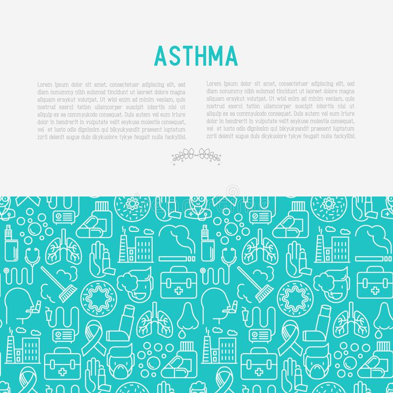 世界哮喘与稀薄的线象的天概念 库存例证