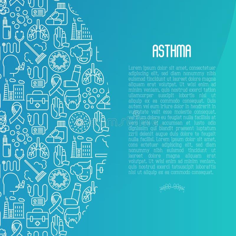 世界哮喘与稀薄的线象的天概念 向量例证