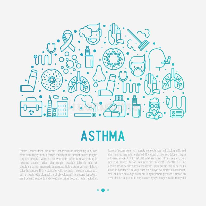世界哮喘在半圈的天概念 皇族释放例证