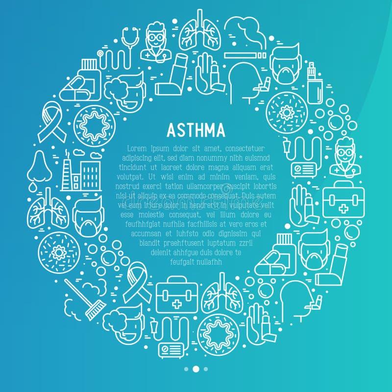 世界哮喘在圈子的天概念 库存例证