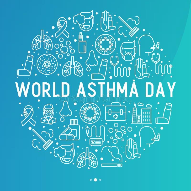 世界哮喘在圈子的天概念 皇族释放例证