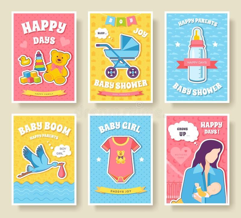 世界哺乳的星期卡集 孩子元素的flyear,杂志,海报,书套,横幅 设备infographic概念 库存例证