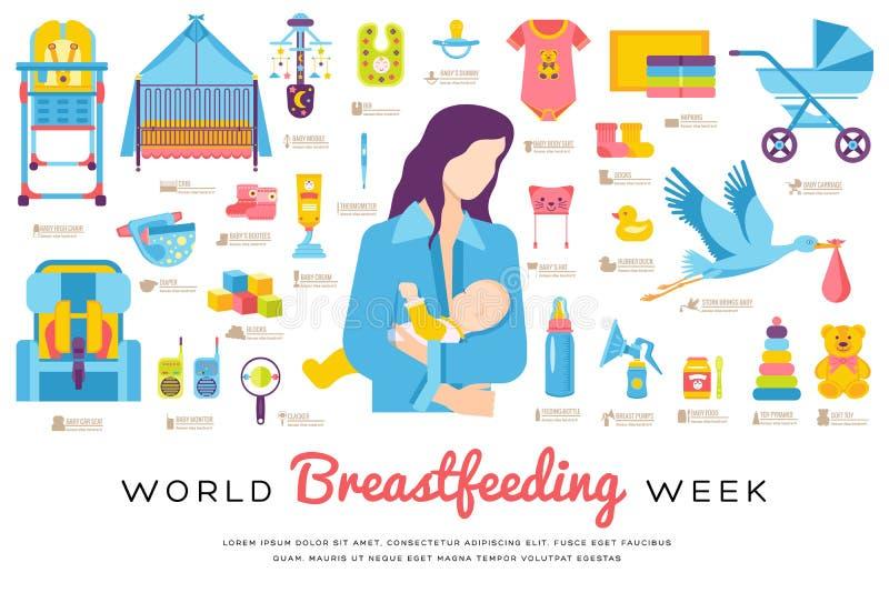 世界哺乳的星期和孩子元素平的象集合概念 儿童例证设计 皇族释放例证