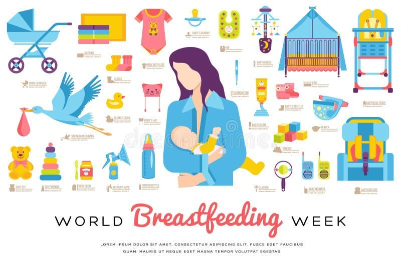 世界哺乳的星期和孩子元素平的象集合概念 儿童例证设计 库存例证