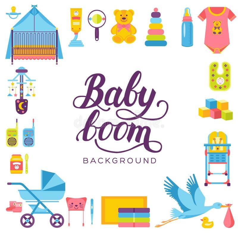 世界哺乳的星期和孩子元素平的象集合概念 儿童例证设计 向量例证