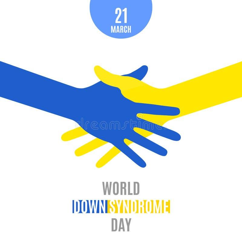 世界唐氏综合症天 海报 握手蓝色黄色递在白色背景隔绝的标志 也corel凹道例证向量 库存例证