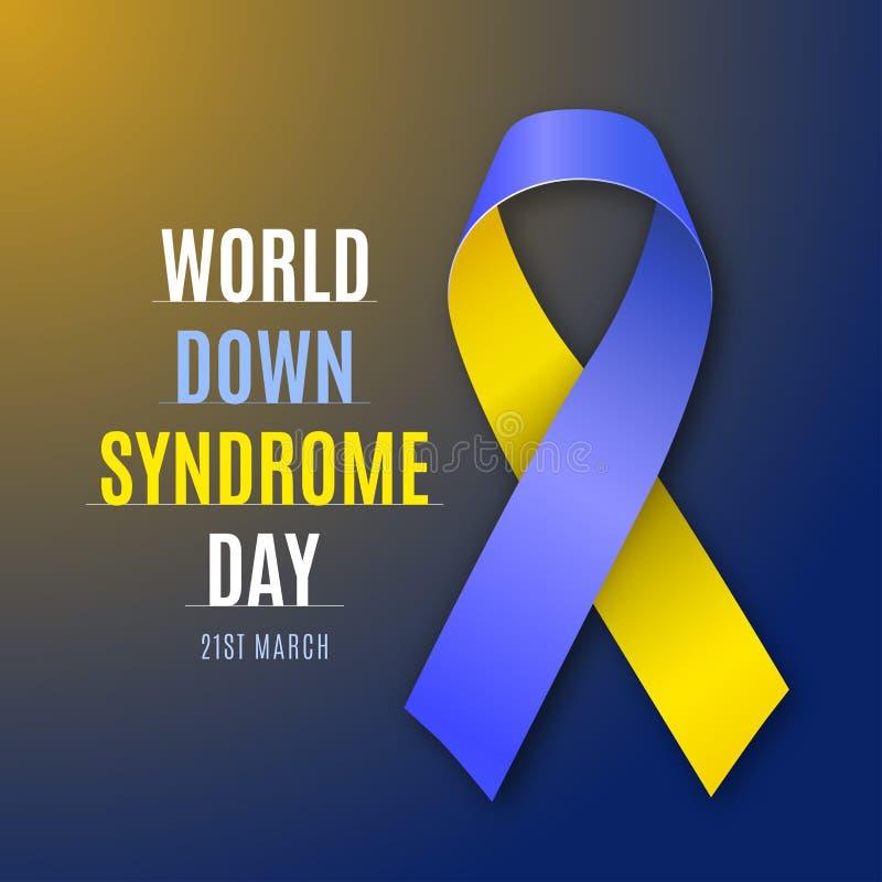 世界唐氏综合症天 青的黄色丝带签到明亮的背景 向量 向量例证