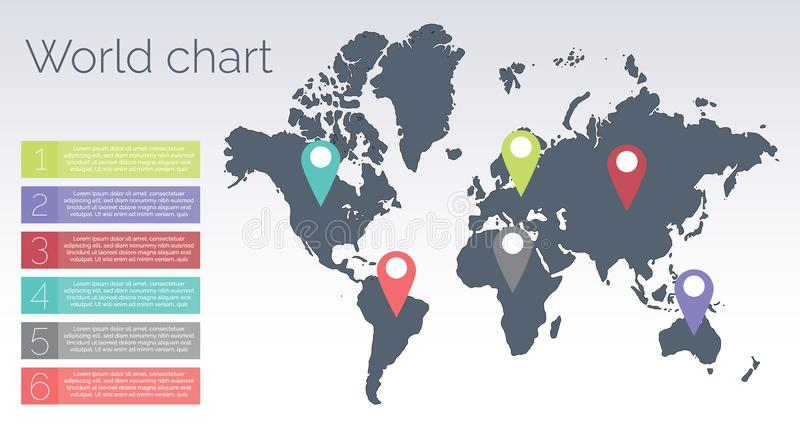 世界图信息图表 库存例证