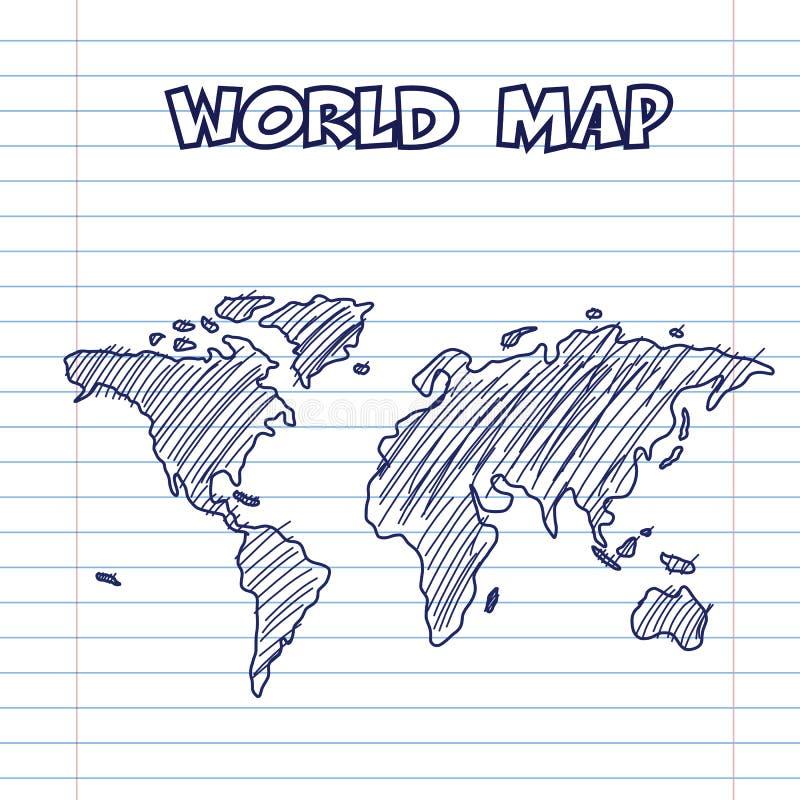 世界地图乱画笔墨水 向量例证