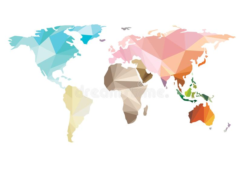 世界地图传染媒介五颜六色的多角形白色背景 库存例证