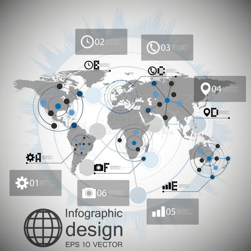 世界地图传染媒介, infographic设计例证 库存例证