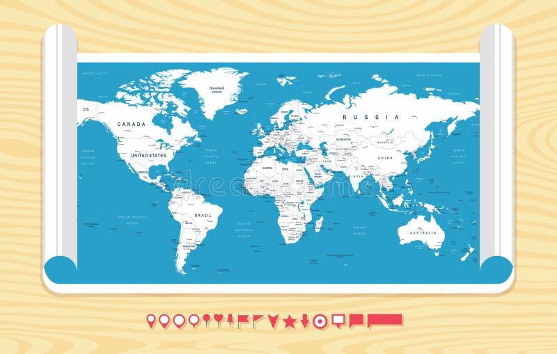 世界地图传染媒介 worldmap的详细的例证 向量例证