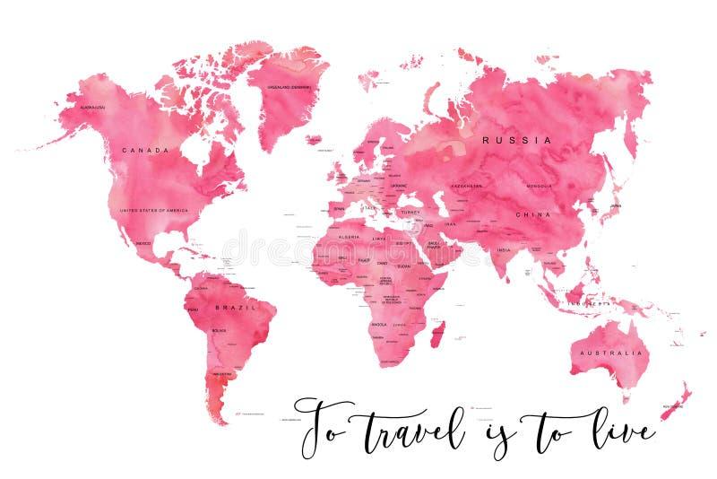 世界地图充满桃红色水彩作用 库存图片