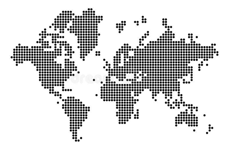 世界地图剪影 在小点的世界地图 库存例证