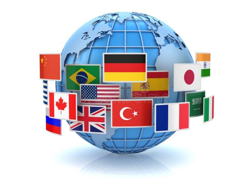 世界地图和国旗 库存例证