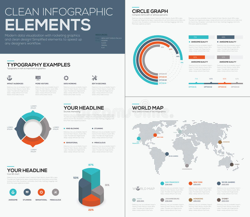 世界地图和圆形统计图表数据形象化导航infographics 皇族释放例证