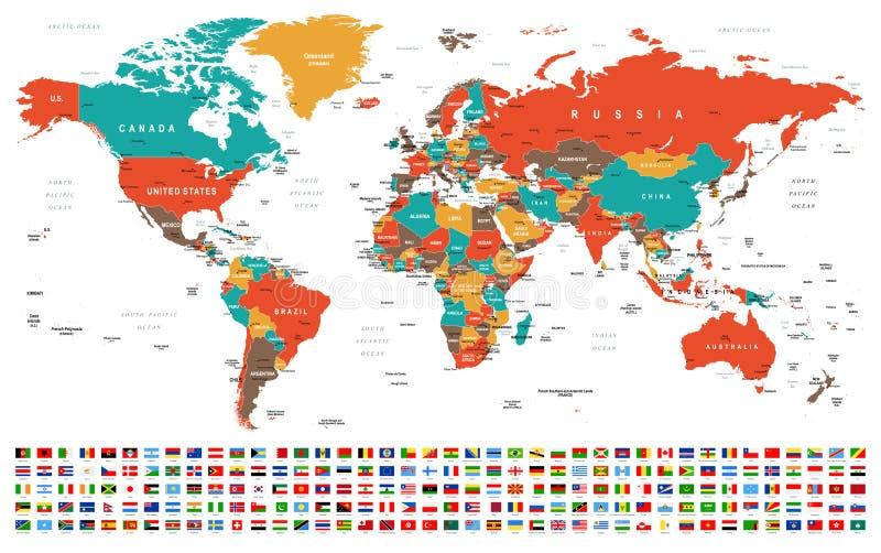 世界地图和旗子-边界、国家和城市-例证 免版税库存照片