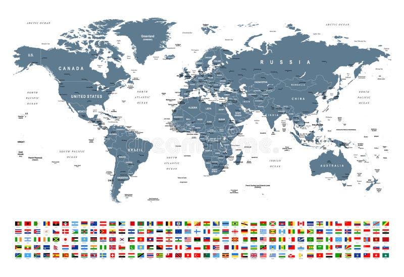 世界地图和旗子-边界、国家和城市-例证 皇族释放例证