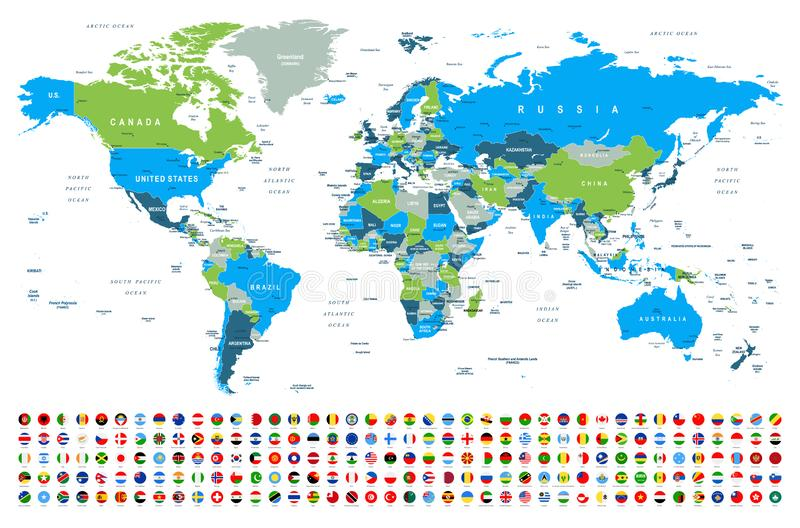 世界地图和旗子-边界、国家和城市-例证 向量例证