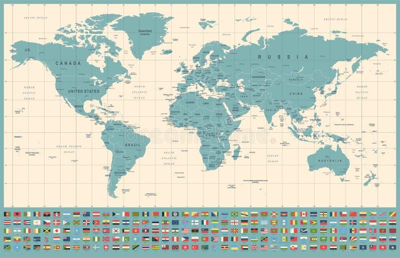 世界地图和旗子-边界、国家和城市-葡萄酒例证 库存例证