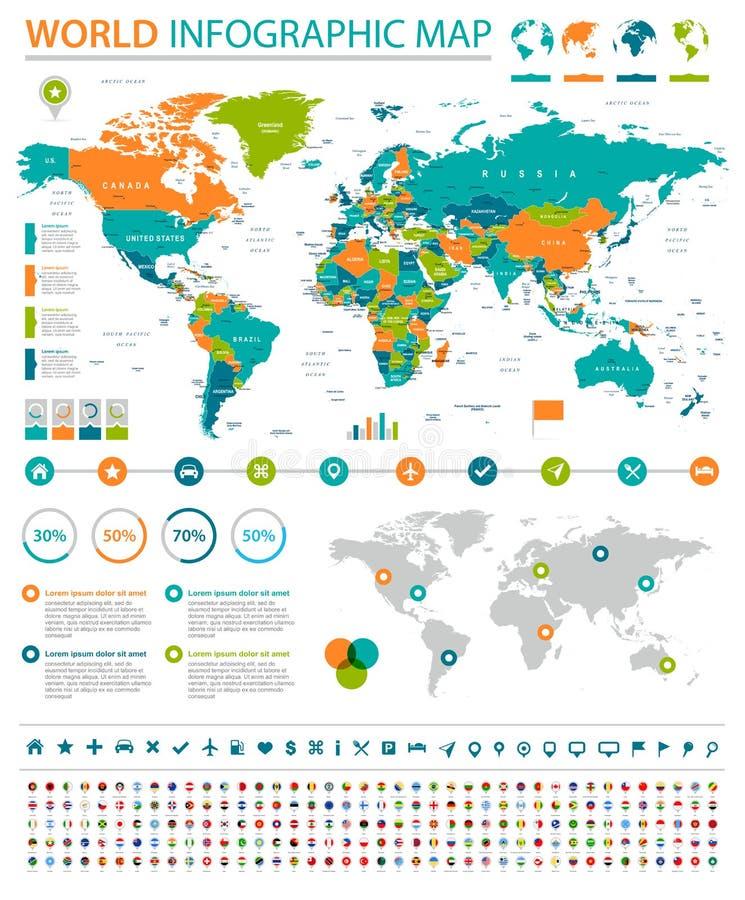 世界地图和旗子-边界、国家和城市- infographic例证 皇族释放例证