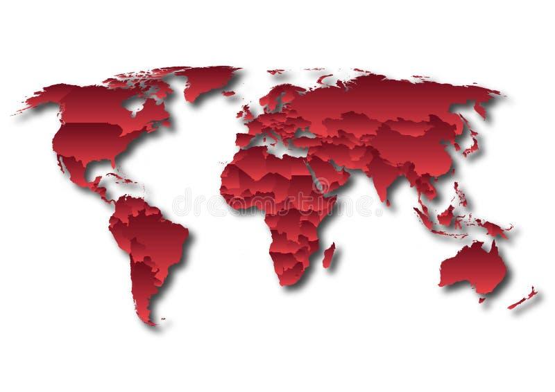 世界地图国家红色梯度 皇族释放例证