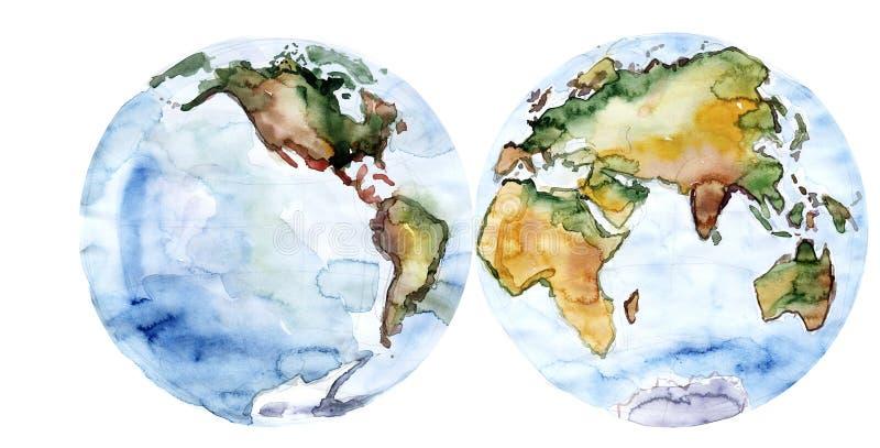 世界地图图画水彩 库存例证