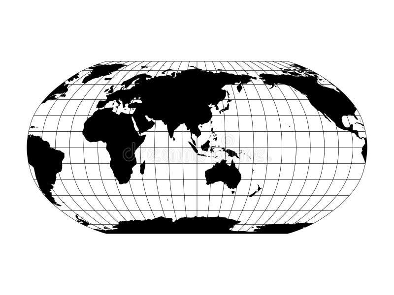 世界地图在与子午线和平行栅格的鲁宾逊投射 亚洲和澳大利亚集中了 有黑色的黑土地 皇族释放例证