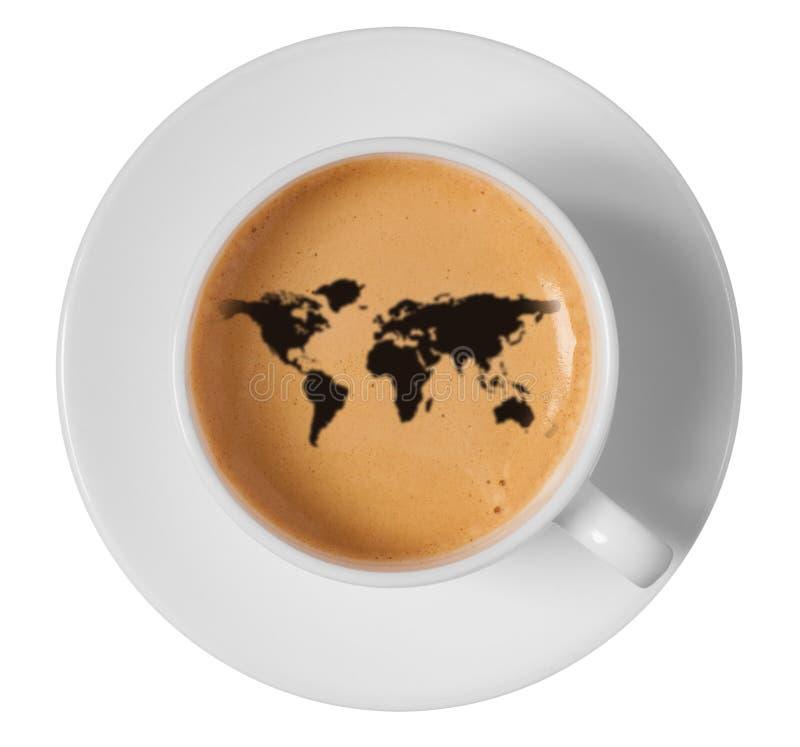 世界地图在咖啡泡沫的图画艺术在杯子 免版税库存图片