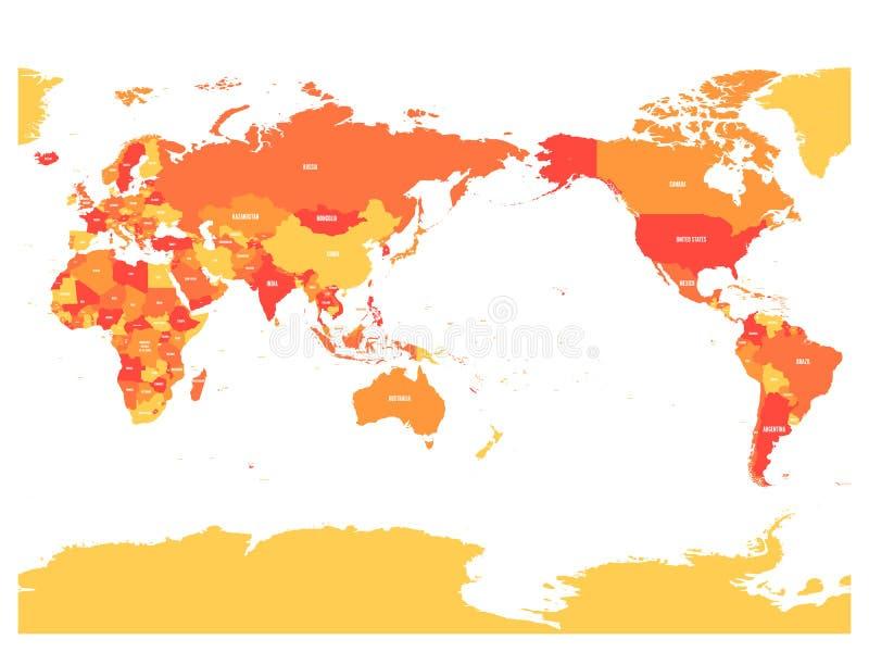 世界地图在桔子四片树荫下在白色背景的 高细节太平洋被集中的政治地图 也corel凹道例证向量 库存例证
