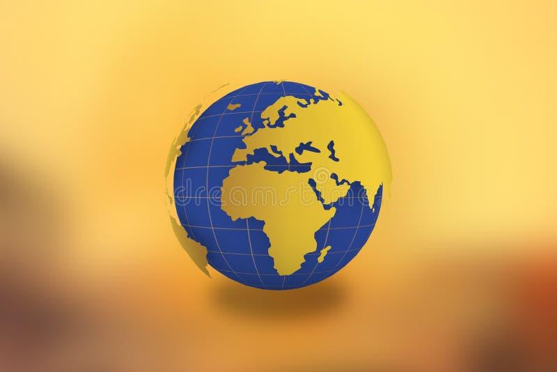 世界地图地球在金黄背景2017年7月-21中 库存例证