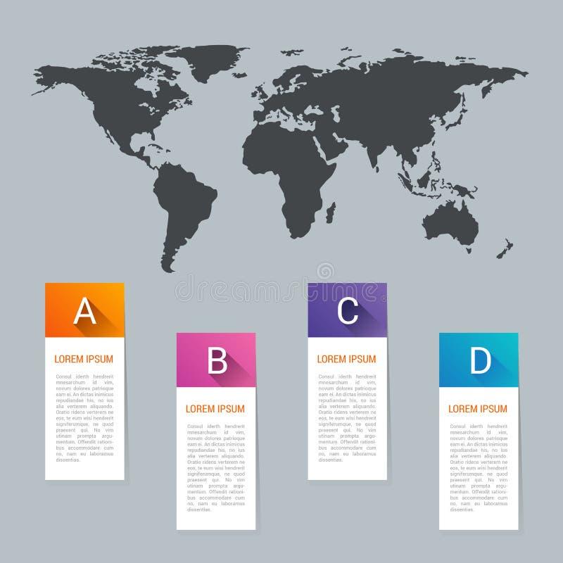 世界地图尖指示象平的网标志标志商标标签 向量例证