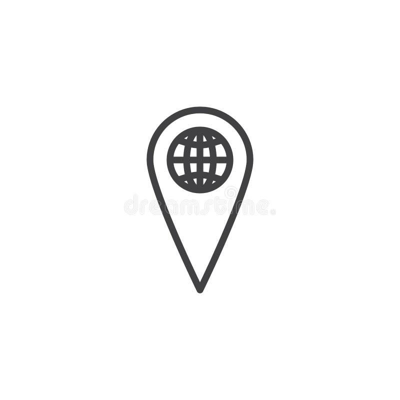 世界地图尖线象 库存例证
