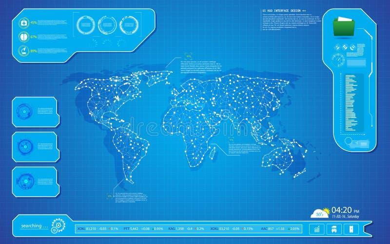 世界地图技术创新hud接口UI设计背景模板 皇族释放例证