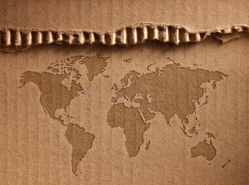 世界地图显示皱纸板 库存照片