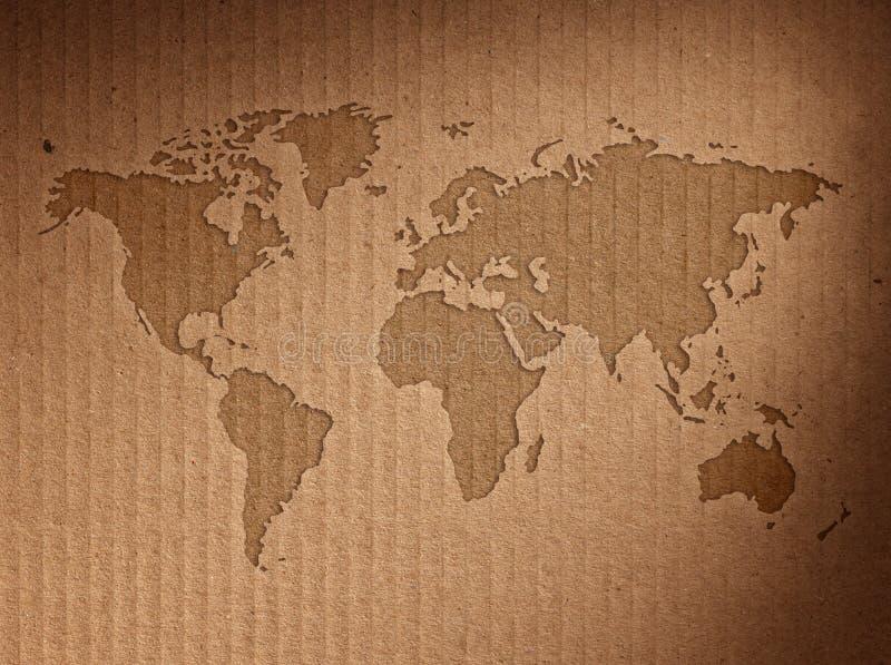 世界地图显示皱纸板 免版税库存图片