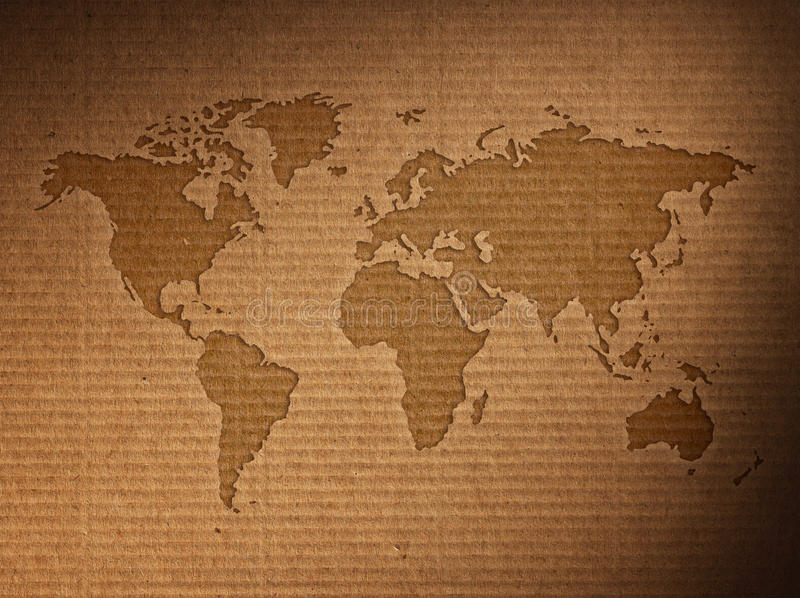 世界地图显示皱纸板 免版税图库摄影