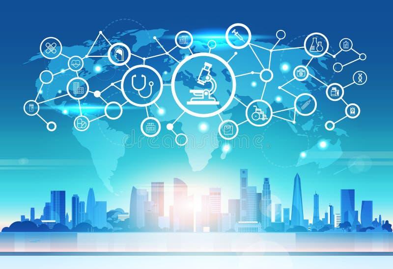 世界地图未来派显微镜象接口医疗医疗保健网络连接概念cityskape日落背景 库存例证