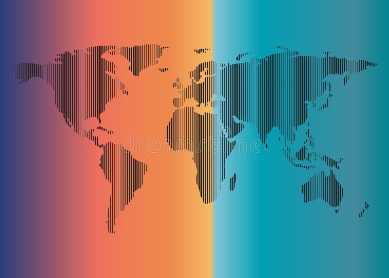 世界地图概述垂直线背景积土蓝色橙色紫色 库存例证