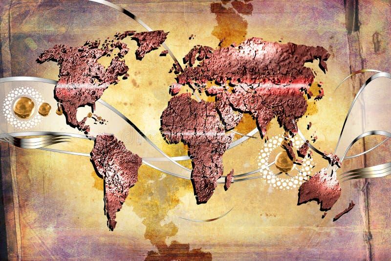 世界地图油漆设计艺术例证 库存例证