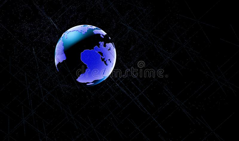 世界地图点,线,构成,代表全球性,全球网络连接,国际意思 3d例证 库存例证