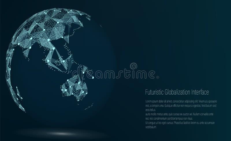 世界地图点 澳大利亚和大洋洲 也corel凹道例证向量 构成,代表全球网络连接 皇族释放例证