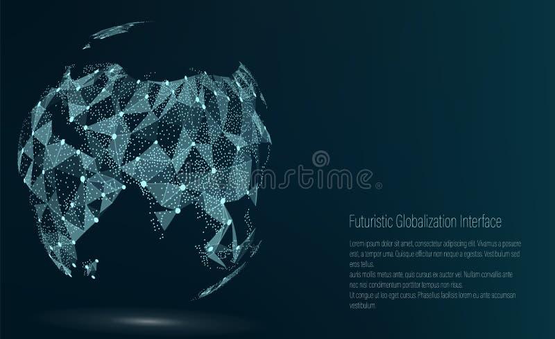 世界地图点 聚会所 也corel凹道例证向量 构成,代表全球网络连接,国际 皇族释放例证